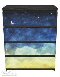 Möbelfolie Wolkenhimmel mit Mond und Sternen – Bild 1
