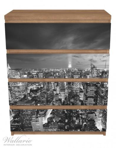 Möbelfolie New York bei Nacht - Panoramablick über die Stadt - schwarzweiß – Bild 3