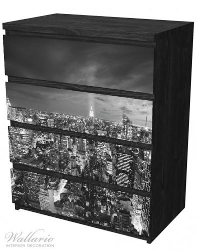 Möbelfolie New York bei Nacht - Panoramablick über die Stadt - schwarzweiß – Bild 4