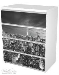 Möbelfolie New York bei Nacht - Panoramablick über die Stadt - schwarzweiß – Bild 5