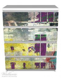 Möbelfolie Retro-Style lila-gelb – Bild 2