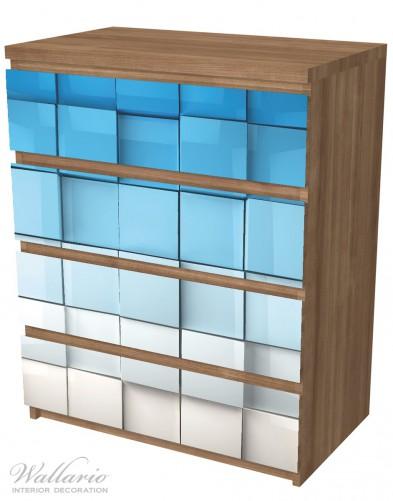 Möbelfolie Blau-weiße Kisten, Schachteln, Muster – Bild 6