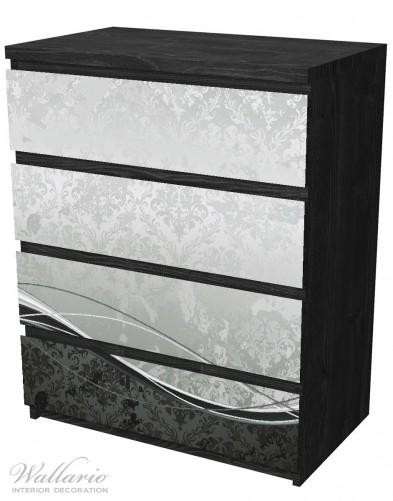 Möbelfolie Grau-schwarze Schnörkelei mit Wellen – Bild 4