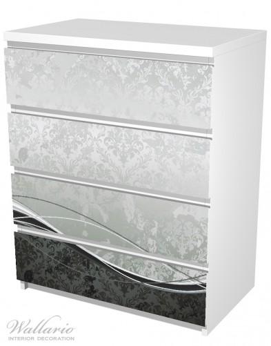 Möbelfolie Grau-schwarze Schnörkelei mit Wellen – Bild 5