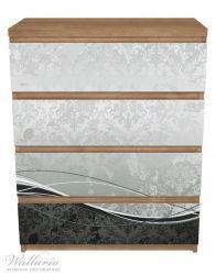 Möbelfolie Grau-schwarze Schnörkelei mit Wellen – Bild 3