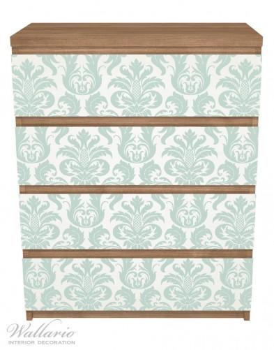 Möbelfolie Königliche Schnörkelei in weiß und grün – Bild 3