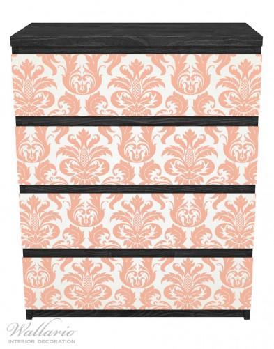 Möbelfolie Königliche Schnörkelei in weiß und orange – Bild 1