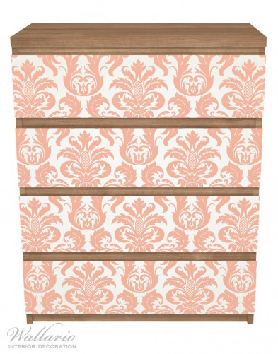 Möbelfolie Königliche Schnörkelei in weiß und orange – Bild 3
