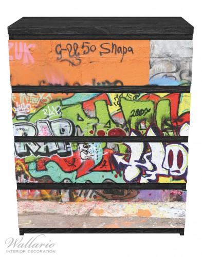 Möbelfolie RAP-Graffiti- Wand mit verschiedenen Tags – Bild 1