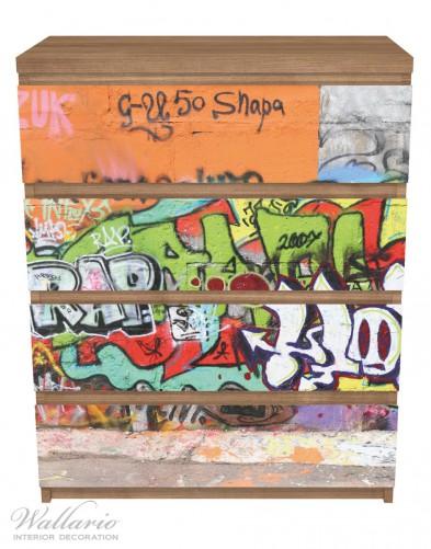 Möbelfolie RAP-Graffiti- Wand mit verschiedenen Tags – Bild 3