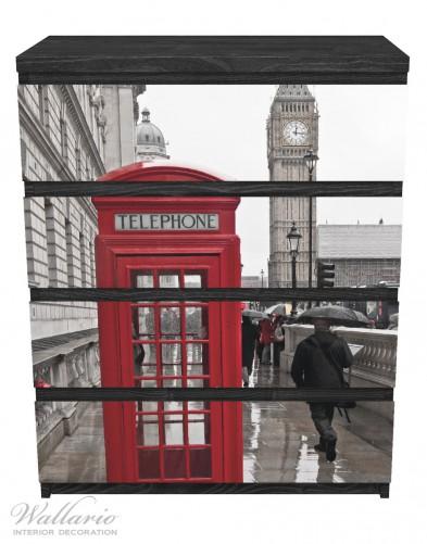 Möbelfolie Rote Telefonzelle in London, England, mit Big Ben – Bild 1