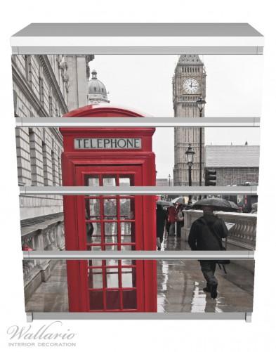 Möbelfolie Rote Telefonzelle in London, England, mit Big Ben – Bild 2