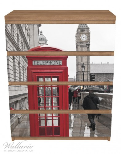 Möbelfolie Rote Telefonzelle in London, England, mit Big Ben – Bild 3