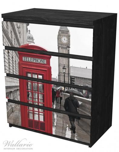 Möbelfolie Rote Telefonzelle in London, England, mit Big Ben – Bild 4