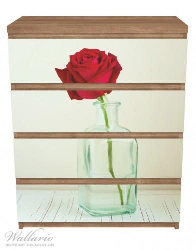 Möbelfolie Rote Rose in Glasvase – Bild 3