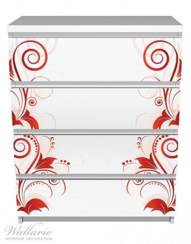 Möbelfolie Abstrakte rote Blumenschnörkel – Bild 2