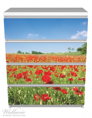 Möbelfolie Mohnblumenfeld- rote Blumen unter blauem Himmel – Bild 2