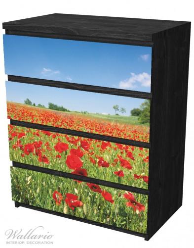 Möbelfolie Mohnblumenfeld- rote Blumen unter blauem Himmel – Bild 4