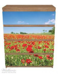 Möbelfolie Mohnblumenfeld- rote Blumen unter blauem Himmel – Bild 3