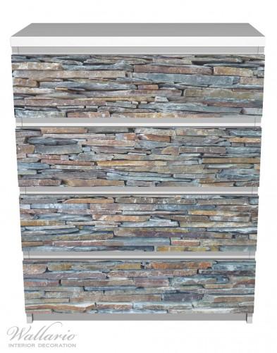 Möbelfolie Natursteinmauer in grau braun – Bild 2