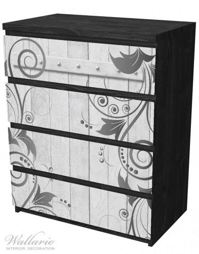 Möbelfolie Graue Holztür mit Schnörkelmuster – Bild 4