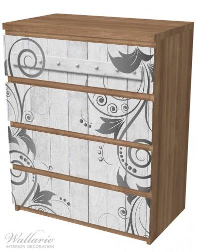 Möbelfolie Graue Holztür mit Schnörkelmuster – Bild 6