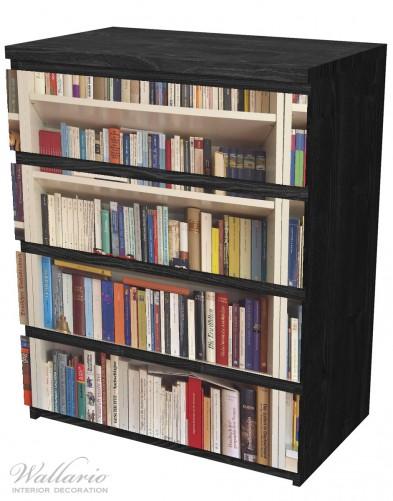 Möbelfolie Weißes Bücherregal mit unterschiedlichen Büchern – Bild 4