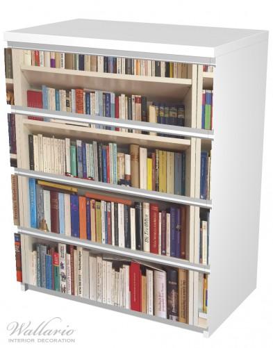 Möbelfolie Weißes Bücherregal mit unterschiedlichen Büchern – Bild 5