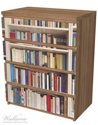Möbelfolie Weißes Bücherregal mit unterschiedlichen Büchern – Bild 6