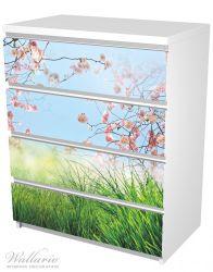 Möbelfolie Kirschblütenzweige und grüne Wiese- Frühling – Bild 5