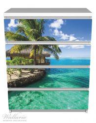 Möbelfolie Karibisches Meer – Einsame Hütte unter Palmen – Bild 2