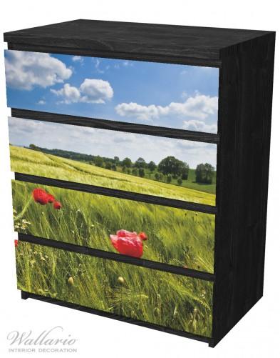 Möbelfolie Mohnblumenwiese auf grüner Wiese unter blauem Himmel – Bild 4