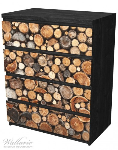 Möbelfolie Dunkler Holzstapel rund – Bild 4