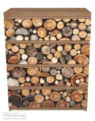 Möbelfolie Dunkler Holzstapel rund – Bild 3