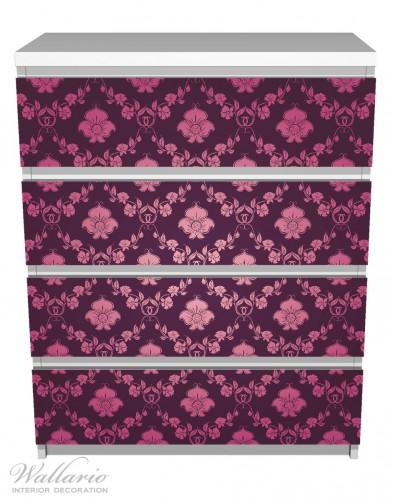 Möbelfolie Blumenmuster Damast in pink lila – Bild 2