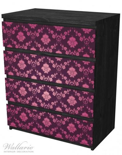 Möbelfolie Blumenmuster Damast in pink lila – Bild 4
