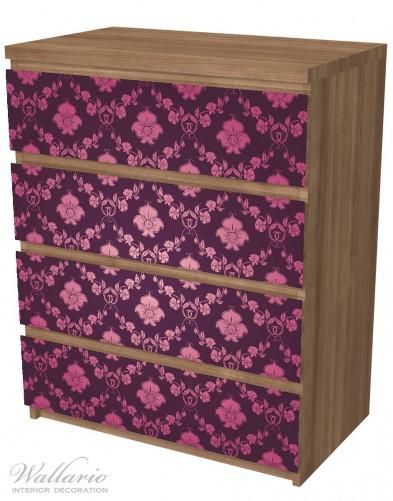 Möbelfolie Blumenmuster Damast in pink lila – Bild 6