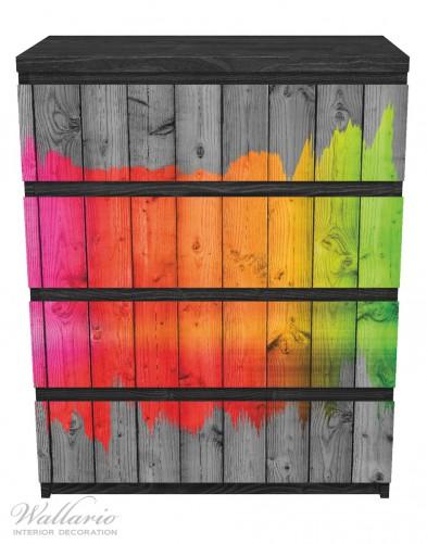 Möbelfolie Holzpaneel - Bemaltes buntes Holz – Bild 1