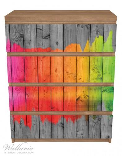 Möbelfolie Holzpaneel - Bemaltes buntes Holz – Bild 3