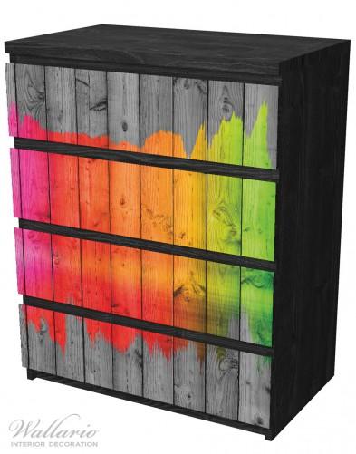 Möbelfolie Holzpaneel - Bemaltes buntes Holz – Bild 4