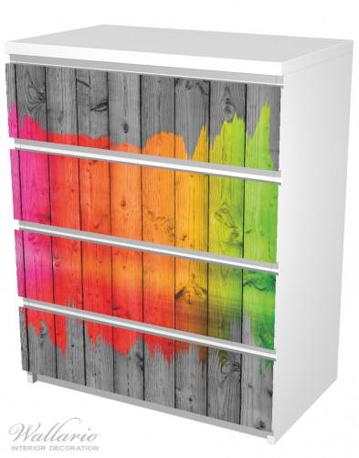 Möbelfolie Holzpaneel - Bemaltes buntes Holz – Bild 5
