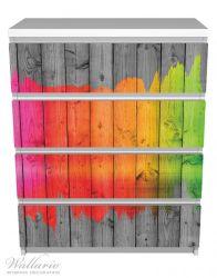 Möbelfolie Holzpaneel - Bemaltes buntes Holz – Bild 2