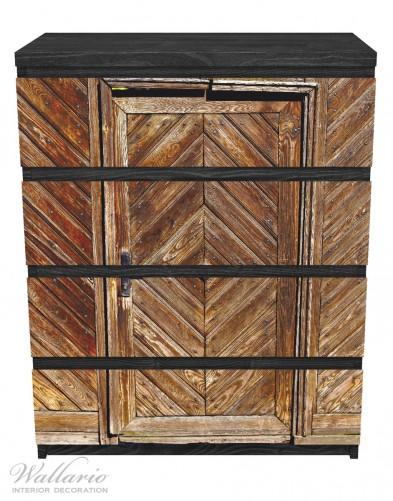 Möbelfolie Alte Holztür mit diagonalem Muster – Bild 1