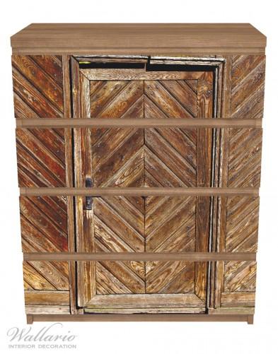 Möbelfolie Alte Holztür mit diagonalem Muster – Bild 3