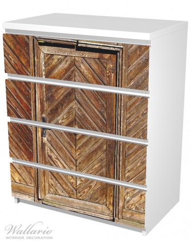 Möbelfolie Alte Holztür mit diagonalem Muster – Bild 5