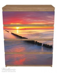 Möbelfolie Farbenspiel im Himmel - Sonnenuntergang am Strand – Bild 3