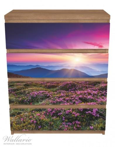 Möbelfolie Blumenbedeckte Wiese bei Sonnenuntergang – Bild 3