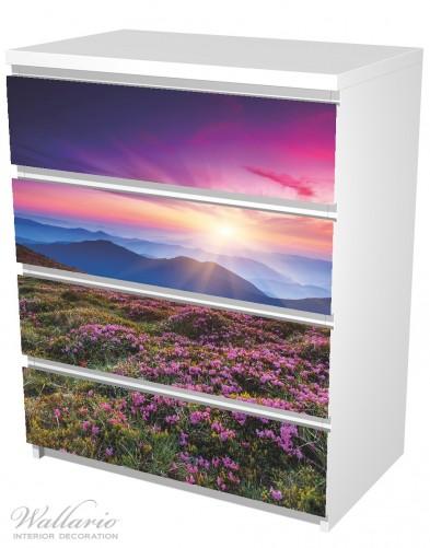 Möbelfolie Blumenbedeckte Wiese bei Sonnenuntergang – Bild 5