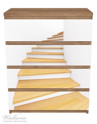Möbelfolie Wendeltreppe aus hellem Holz – Bild 3