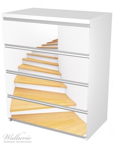 Möbelfolie Wendeltreppe aus hellem Holz – Bild 5